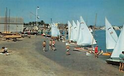 Sail Boats After A Race Alamitos Bay Yacht Club Long Beach CA Vtg  Postcard