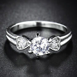 Flower & Heart Silver Band White Gold Filled Clear Crystal Sapphire Women Rings