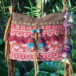 UNIQUE HANDMADE LEATHER HMONG TEXTILE TASSEL GYPSY FRINGE SHOULDER BAG BOHO DIY $300.00