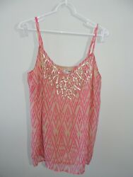 NEW Womens Size Large ** OLD NAVY ** PinkKhaki Spaghetti Strap Sequin Top T-25 $18.99