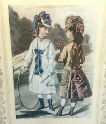 Early French Coloured Fashion Plate Framed Girls Park Hoop Dresses Hats GBP 12.99