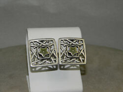 Guess Square Green Star Clip Earrings Silvertone $14.99