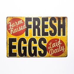 Tin Sign Fresh Eggs Laid Daily Rooster Chicken Decor Farm Barn Dairy Kitchen $8.99
