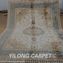 Yilong 8'x11.7' Persian Silk Rug Hand-knotted Large Carpets Great Handmade 1871