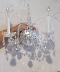 Pair Crystal DB Light Electric Light Wall Sconces $250.00