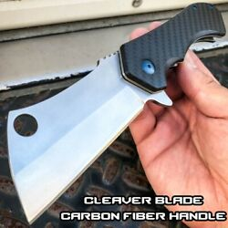 TACTICAL CARBON FIBER Bearing Assisted Pocket Knife CLEAVER RAZOR FOLDING Blade $22.95