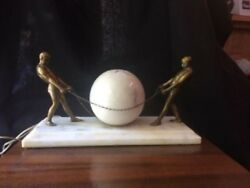 Atlas and Alabastor Strong Brass Men with Chains surrounding Globe  Lamp