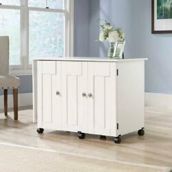 Sewing Machine Craft Table Desk Cabinet Drop Leaf White Folding Wood Storage She