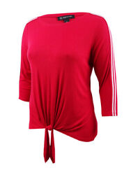 INC International Concepts Women's Plus Size Tie-Front Ribbed Top (0X Real Red)
