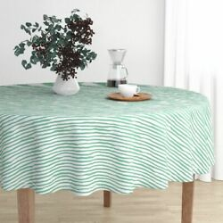 Round Tablecloth Uneven Striped She Is Fierce Green Stripes Mix Cotton Sateen