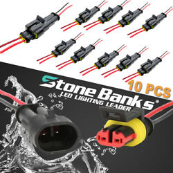 10PCS 2Pin Way Car Waterproof Male Female Electrical Connector Plug Wire Kit Set $9.49