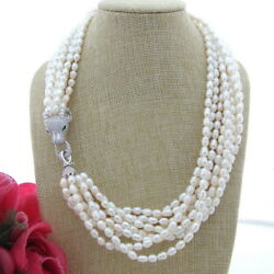 FC111104 21'' 9Strands White Rice Pearl Necklace