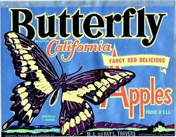 wall designs for living Butterfly Foil Apple fruit crate label poster $15.99