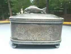 Vintage silver plate jewelry box fish finial lid by Simpson Hall Miller