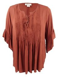 Style & Co. Women's Plus Size Pintucked Ruffled Peasant Top