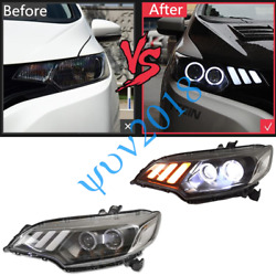 Headlights Head Light Xenon Lamp LED DRL Angel Eyes For Honda Fit GK5 2015-2019s
