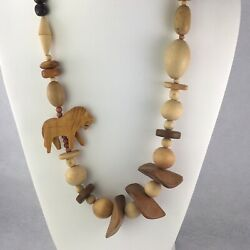 """Vintage 1980's Wood Wooden Animal Lion Necklace 26"""" One Bead Cracked Wear Repair"""