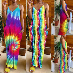 US Womens Boho Floral Maxi Dress Party Evening Summer Beach Sundress Plus Size