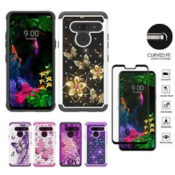 For LG G8 ThinQ LG G8 Studded Rhinestone Crystal Cover Case Tempered Glass $8.99