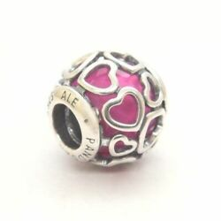 3 Authentic Pandora Bead Charms Encased in Love Cerise Crystal Sky-Blue Pink CZ