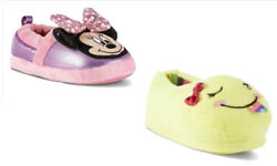 Novelty Girls Slippers Disney Minnie Mouse Piper Yellow Emoji Girls Slip Ons $7.79