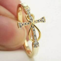 0.10 Carat Round Diamond Cross Engagement Infinity Ring In 14k Yellow Gold Over