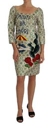 NEW $6700 DOLCE & GABBANA Dress Beige Green Jacquard Saluti Da Capri IT44  US10