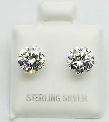 925 Sterling SilverStud Earrings With Man Made Diamond 6 MM