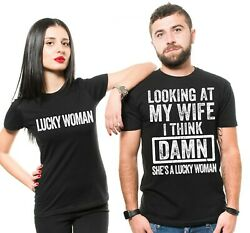 Couple Husband Wife Funny T-Shirts Lucky Woman Funny Shirts $22.87