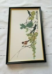 Vintage Asian Bird Floral Watercolor Framed and Signed Painting