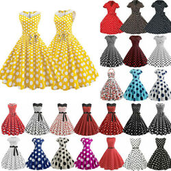 Women 1950s 60s Rockabilly Retro Polka Dot Evening Swing Dress Housewife Dresses