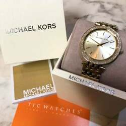 Michael Kors Ladies Watch Darci Glitz Gold Dial Pave Beze
