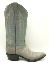 Tony Lama Gray Exotic Skin Leather Classic Cowboy Western Boots Men's 7.5 D