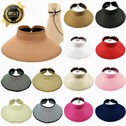 Womens Summer Sun Straw Visor Hat Fold able Roll Up Wide Big Brim Open Top Cap $8.99