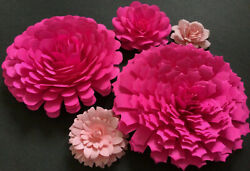 Paper Flowers 3 D Handcrafted 5 pcs Pink DIY Wedding Party Decor Craft Backdrop $15.75