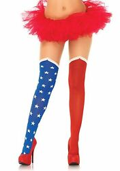 Red White Blue Hero Star Knee High 4th of July Thigh Highs $9.99