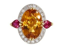 Oval Cut Citrine Ruby & Diamond 18K Gold Halo One of a Kind Statement Ring
