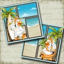 BEACH PARTY - 2 Premade Scrapbook Pages - EZ Layout 4086