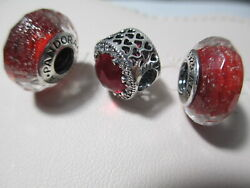 3 Authentic Pandora Silver 925 Ale Red Shimmer Radiant Hearts Cerise CZ Charms