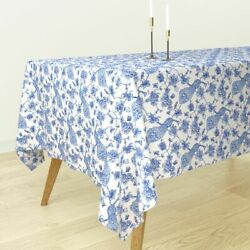 Tablecloth Floral Peacock Chinoiserie Exotic Bird Asian Cotton Sateen