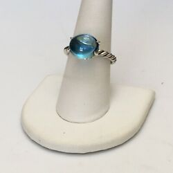 DAVID YURMAN Sterling Silver Blue Topaz 12 X 10mm Oval Stack Ring $375 Size 8