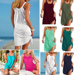 US Women Holiday Beach Bikini Cover Up Boho Casual Party Sun Mini Dress Sundress $17.59