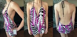 NEW EMILIO PUCCI  SEXY PLUNGING DECOLLETE BACKLESS SILK MINI DRESS IT 40 US 4