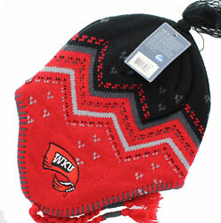 Western Kentucky Toppers - Embroidered Team Logo on Red Earmuff Beanie