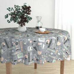 Round Tablecloth Science She Blinded Me With Science! School Kids Cotton Sateen