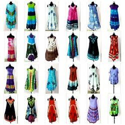 75 Pcs Assorted Deal Lot Indian Sundress Tie Dye Casual Dress free shipping