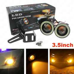 3.5quot; COB LED Yellow Fog Light Projector Car White Angel Eyes Halo Ring DRL Lamp $26.98
