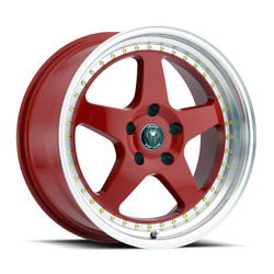 SET OF 4 NEW VENOM WHEELS 11 17X8 5X112 +30 NEON RED MACHINE LIP GOLD RIVETS
