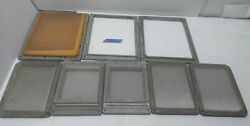 Lot of 8 Solid Aluminum Frames Silk or Stainless Screens 3 Different Sizes  $60.00