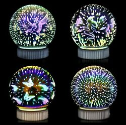 3D Night Light Glass Lamp Magical Crystal Ball USB Power Colorful Spher $18.99